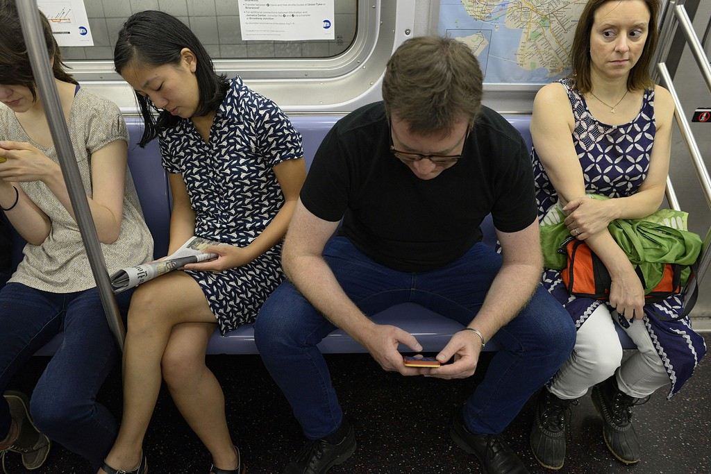 "An example of ""manspreading""; Richard Yeh / WNYC"