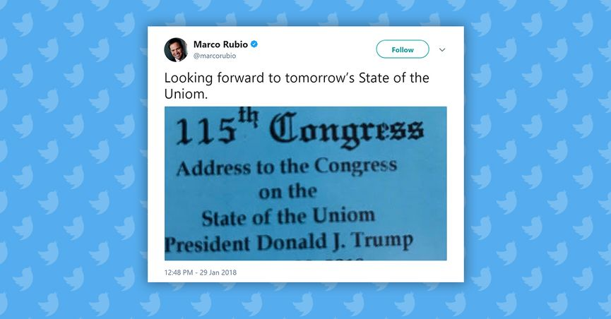 Tickets Issued For President Trumps First State Of The Union Address Contain A Misspelling Word