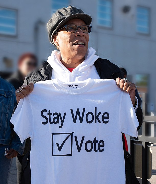 "Congresswoman Marcia Fudge with a ""Stay Woke: Vote"" tee shirt in 2018"