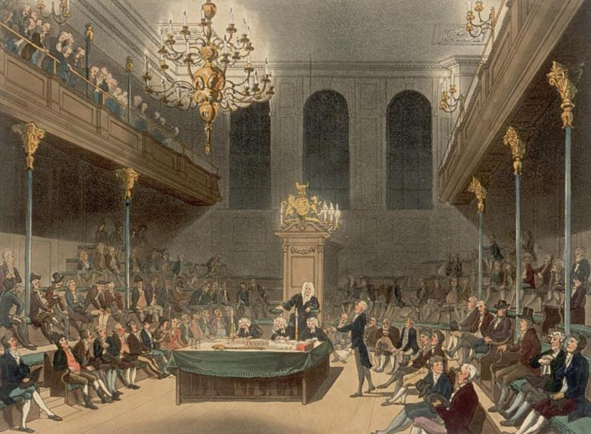 The House of Commons at Westminster; Plate 21 of Microcosm of London (1808) / Wikimedia Commons