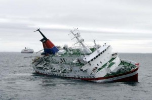 Luxury Cruiseliner MV Explorer Sinking in the Antarctic Ocean, Near the South Shetland Islands - 23 Nov 2007