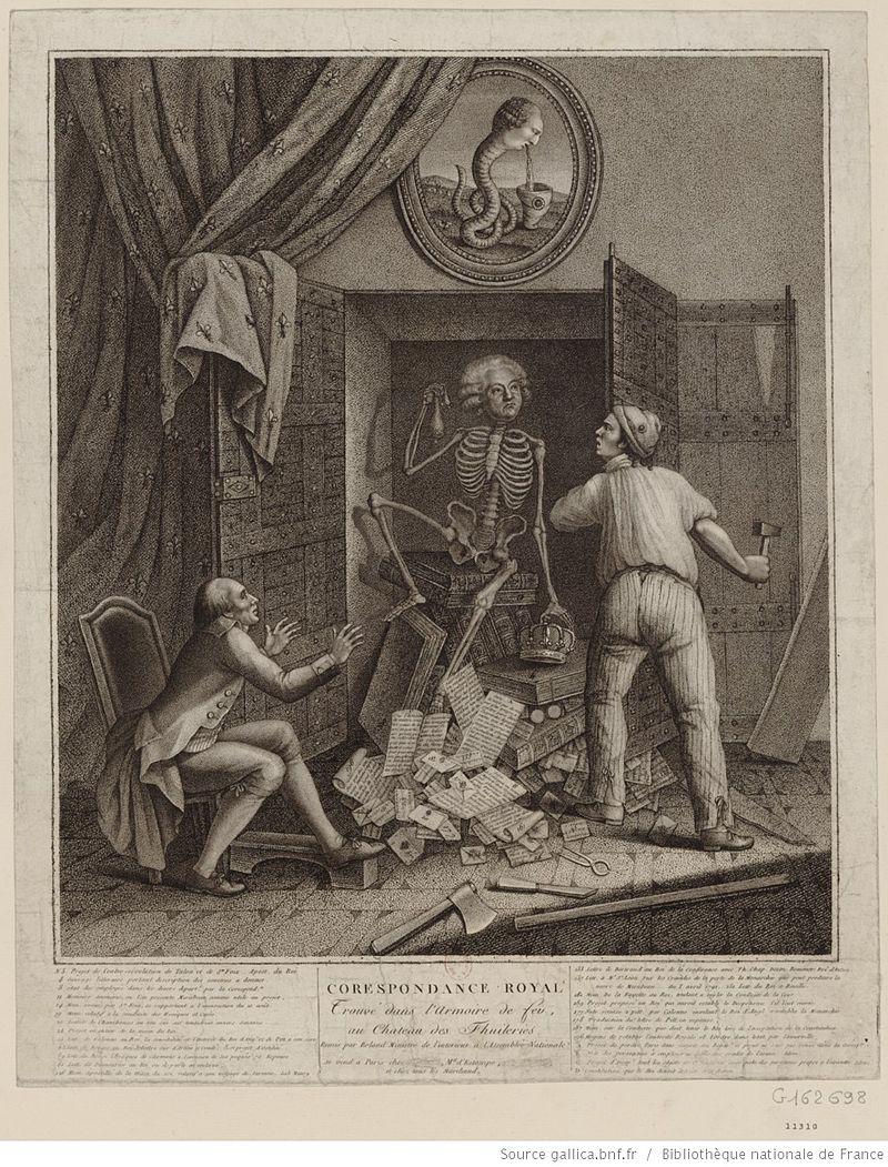 """""""Le squelette de Mirabeau sortant de l'armoire de fer"""" by Marechal - Bibliothèque nationale de France. (Wiki Commons)"""